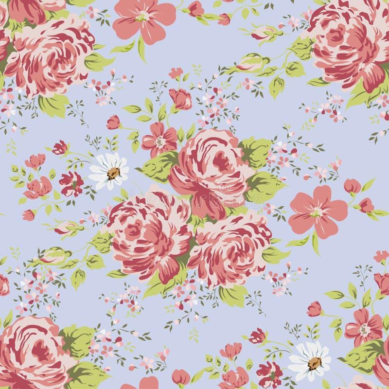 Modello di fiore rosa d'annata senza cuciture della carta da parati illustrazione di stock