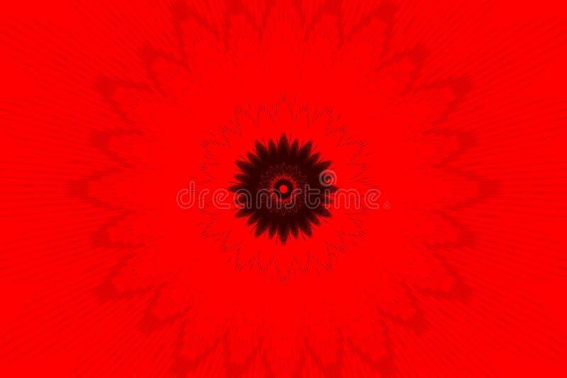 Modello di fiore rosso del caleidoscopio del fondo complicato illustrazione vettoriale