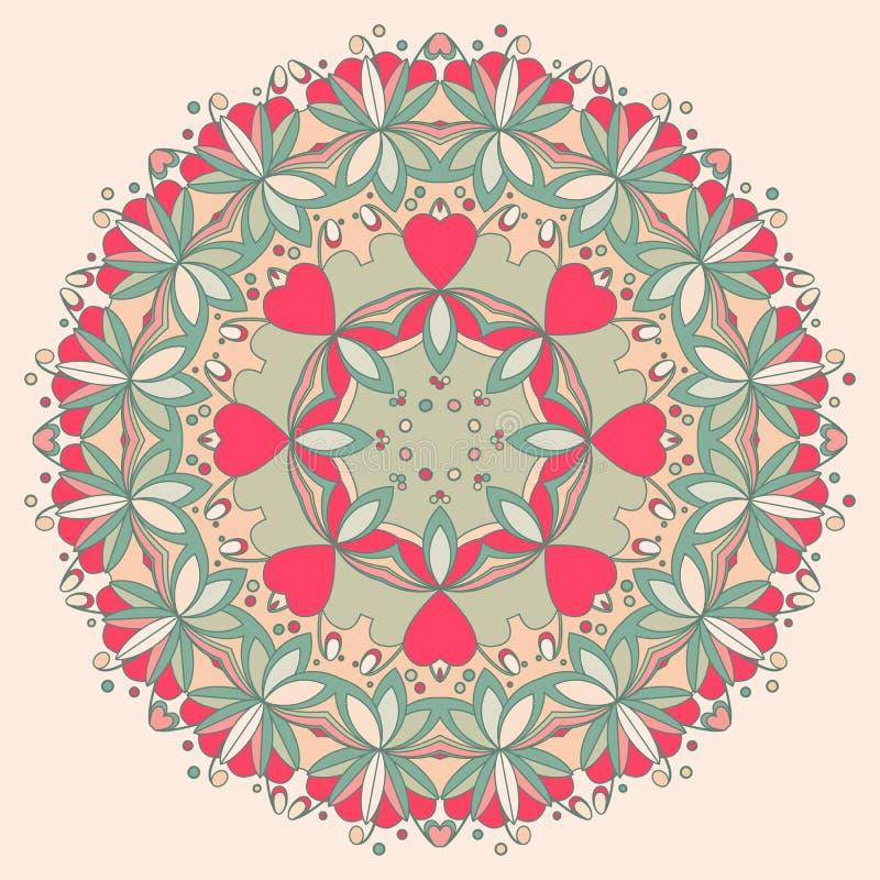 Modello di fiore rotondo ornamentale con i cuori illustrazione vettoriale