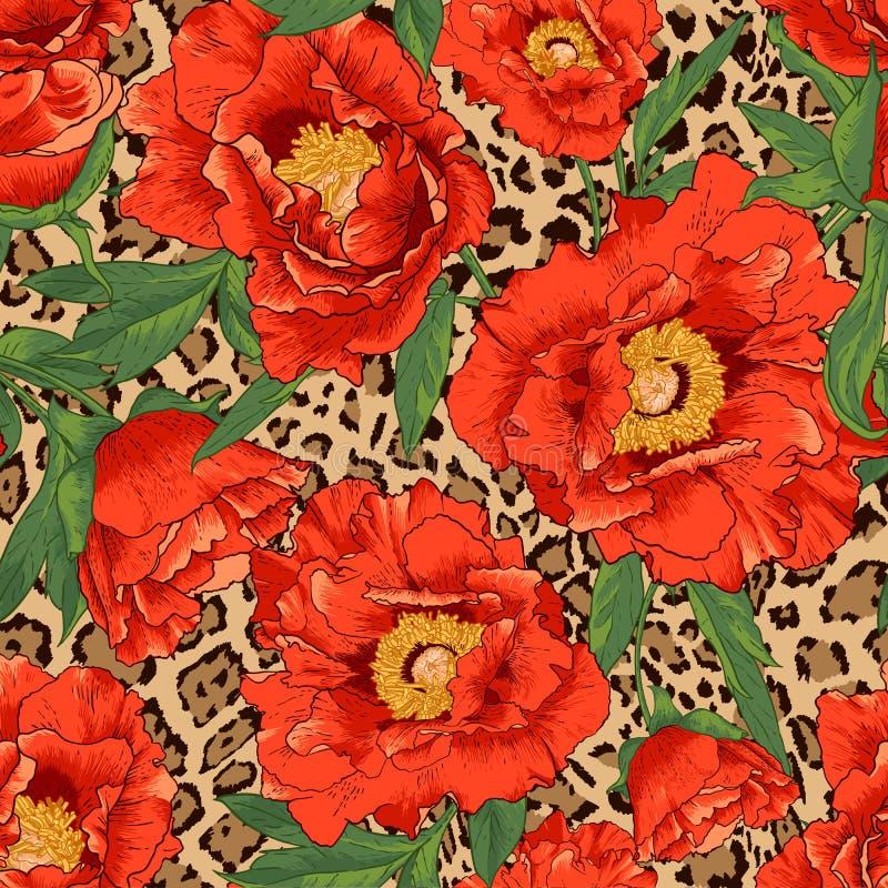 Modello di fiore senza cuciture sul fondo del leopardo - Modello di base del fiore ...