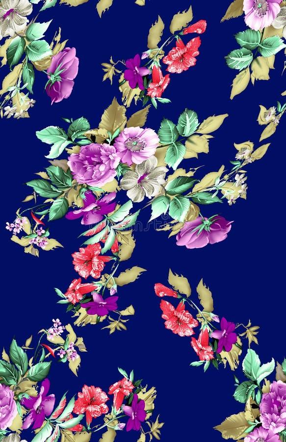 Modello di fiore tradizionale sulla marina royalty illustrazione gratis
