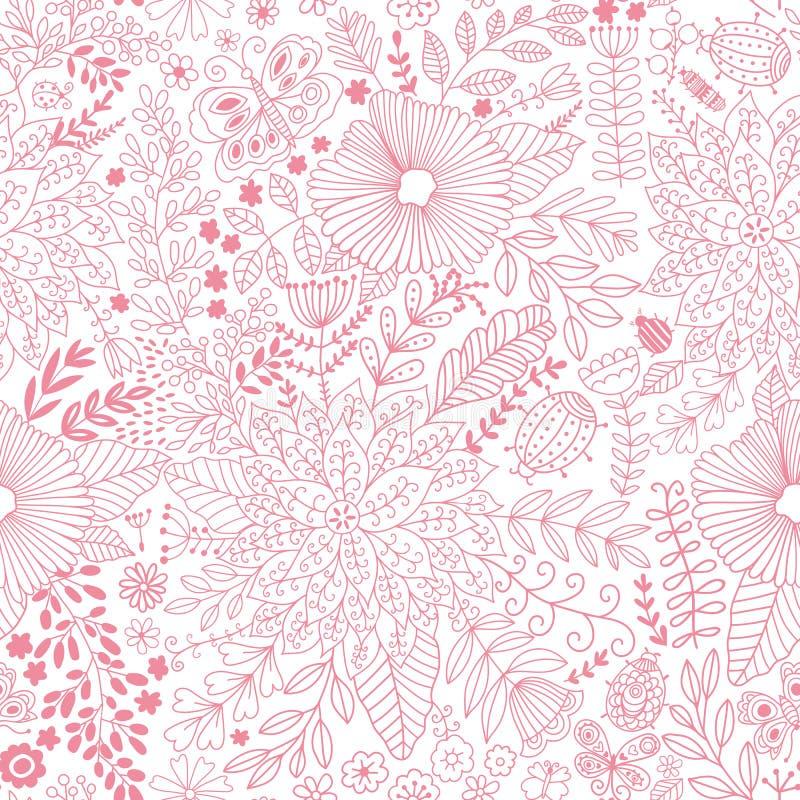Modello di fiore di vettore Struttura botanica senza cuciture, illustrazione vettoriale