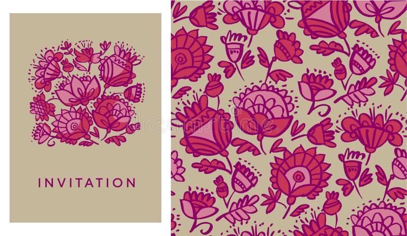 Modello di fiori astratto rosso di stile piega disegnato a mano royalty illustrazione gratis