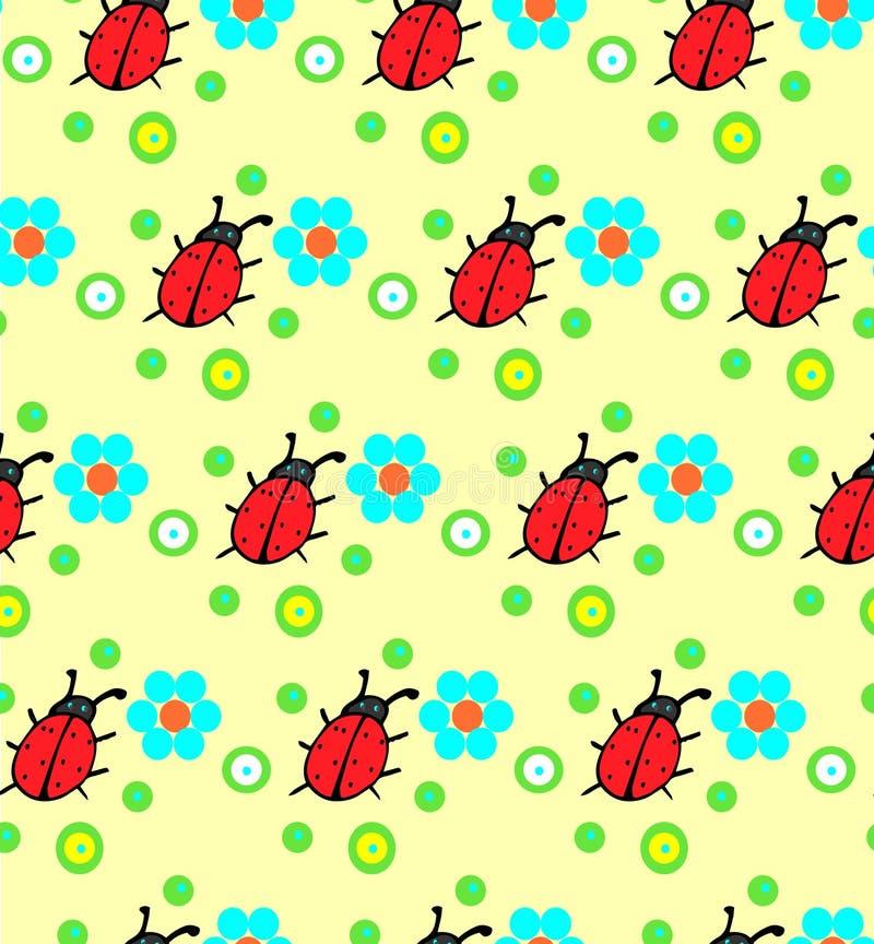 Download Modello Di Fiori Della Coccinella Illustrazione Vettoriale - Illustrazione di verde, floreale: 56881589