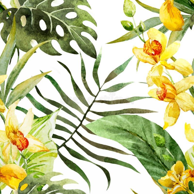 Modello di fiori di canna dell'acquerello illustrazione di stock