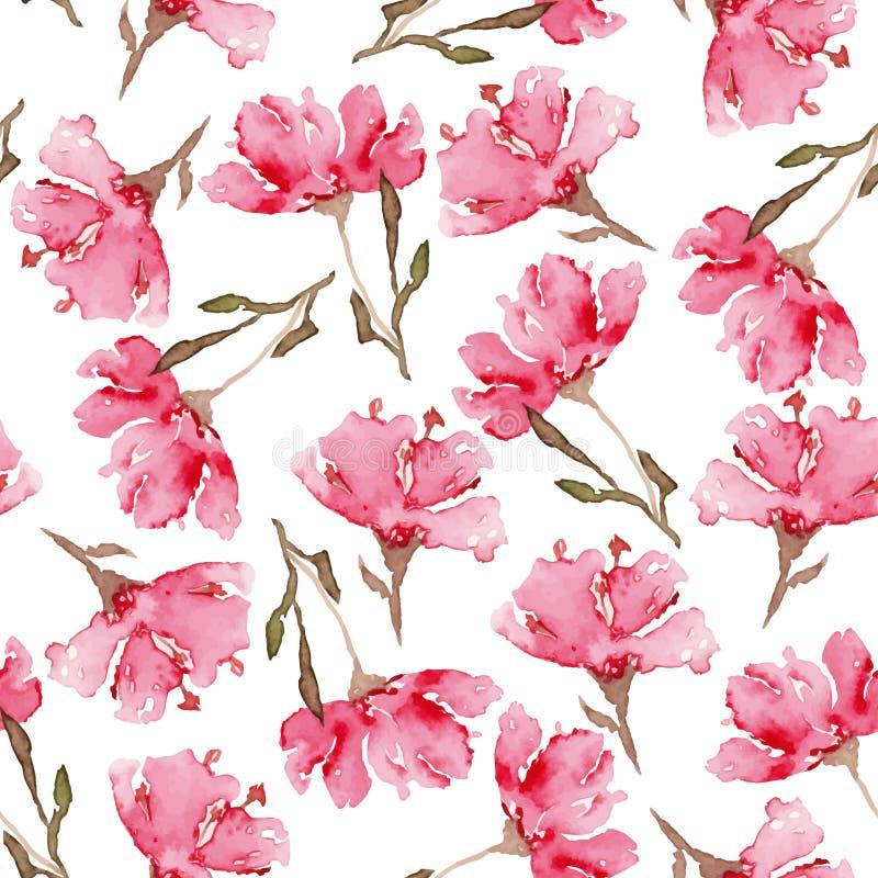 Modello di fiori senza cuciture dell'acquerello illustrazione di stock