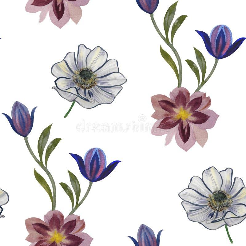 Modello di fiori senza cuciture dell'acquerello Fiori dipinti a mano su un fondo bianco Fiori per il disegno Fiori dell'ornamento illustrazione vettoriale