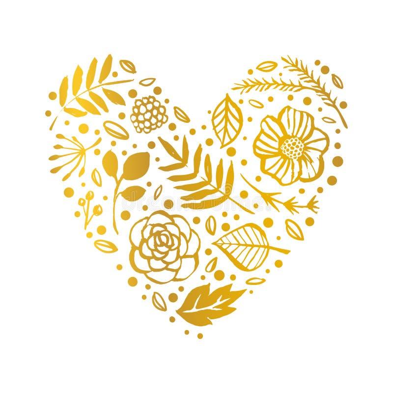 Modello di forma del cuore del fiore Carta floreale dell'oro Illustr disegnato a mano illustrazione vettoriale