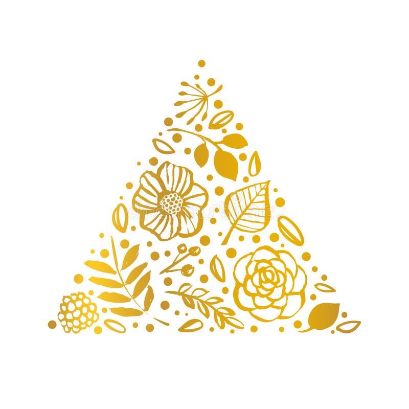 Modello di forma del triangolo del fiore Carta floreale dell'oro Illu disegnato a mano royalty illustrazione gratis