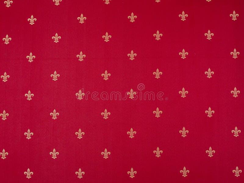 Modello di giglio dipinto su una parete rossa Annata rossa e gialla vinosa di lusso classica illustrazione vettoriale