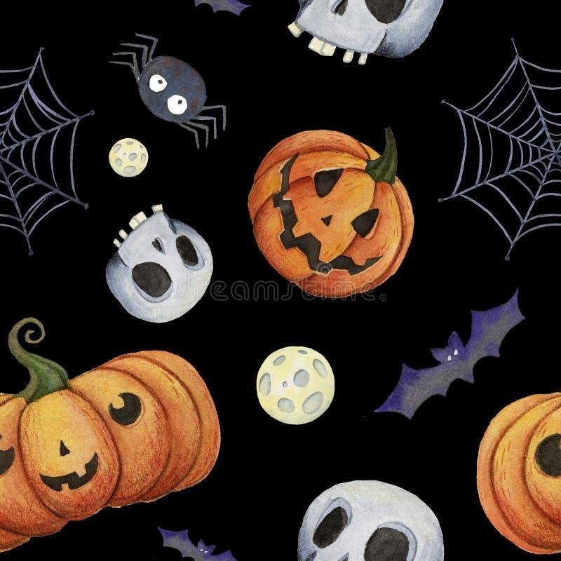 Modello di Halloween dell'acquerello con la zucca, pipistrello, web, cranio, luna royalty illustrazione gratis
