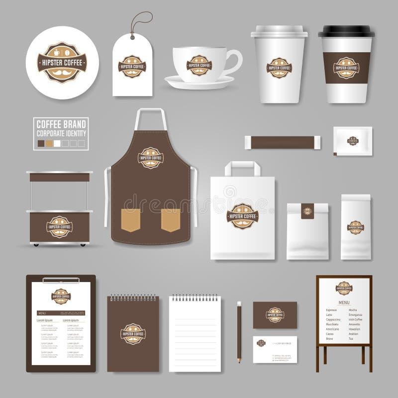 Modello di identità corporativa Concetto di logo per la caffetteria, caffè, illustrazione di stock