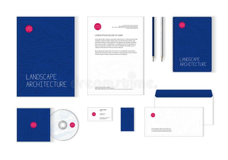 Modello di identità corporativa per architettura del pæsaggio, società di architettura illustrazione vettoriale