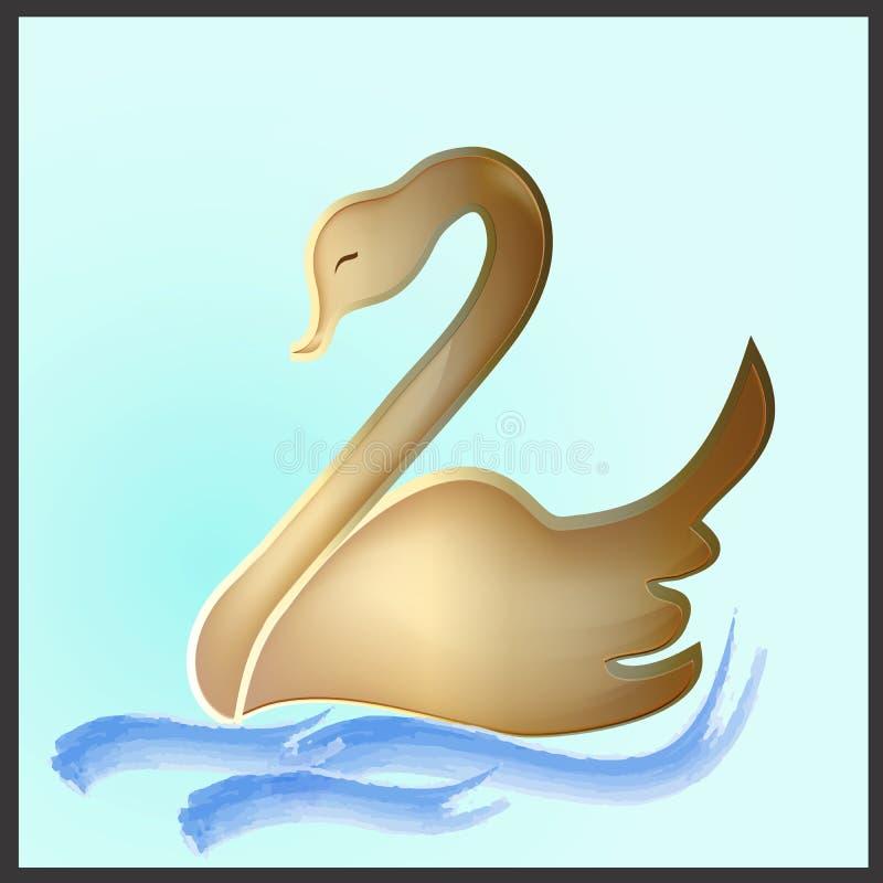 Modello di immagine di biglietto da visita di identificazione di progettazione di vettore del cigno dell'oro di logo illustrazione di stock