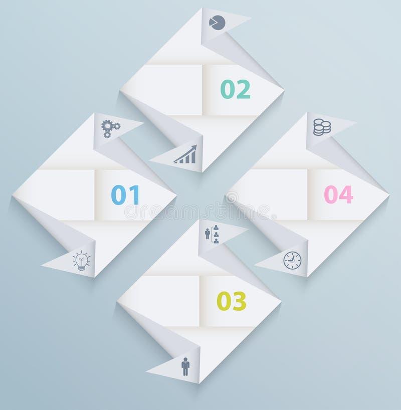 Modello di Infographic con i quadrati di carta di origami illustrazione di stock