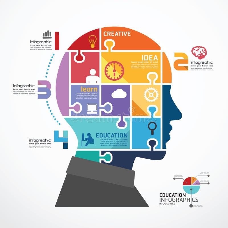 Modello di Infographic con l'insegna capa del puzzle