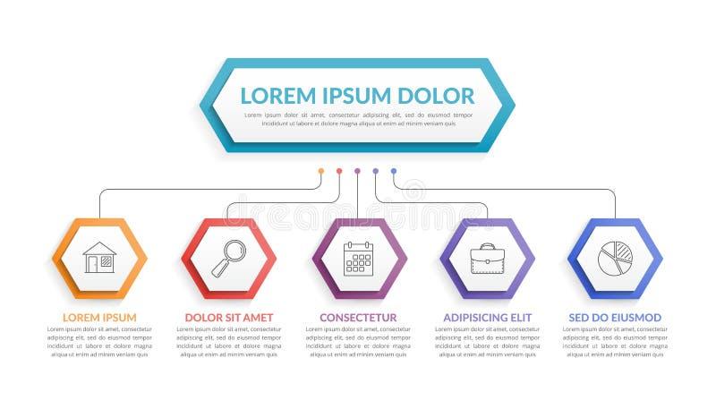 Modello di Infographic con 5 punti illustrazione di stock