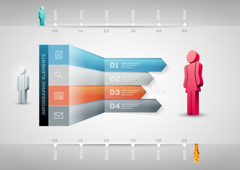 Modello di Infographic della freccia di prospettiva illustrazione di stock