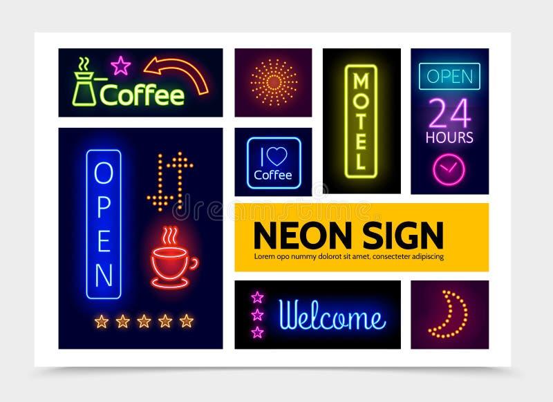 Modello di Infographic delle insegne al neon di pubblicità illustrazione di stock