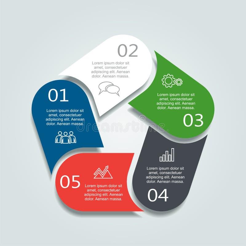 Modello di Infographic può essere usato per la disposizione di flusso di lavoro, il diagramma, le opzioni di punto di affari, l'i illustrazione vettoriale