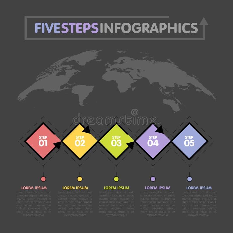 Modello di infographics di affari La cronologia con 5 punti del rombo, cinque numera le opzioni Mappa di mondo nel fondo Elemento illustrazione vettoriale