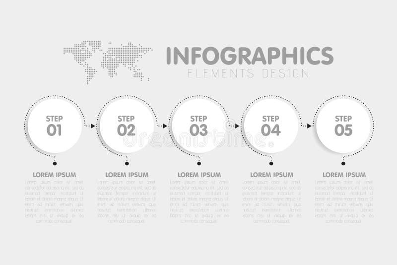 Modello di infographics di affari La cronologia con 5 punti della freccia del cerchio, cinque numera le opzioni Mappa di mondo ne illustrazione vettoriale