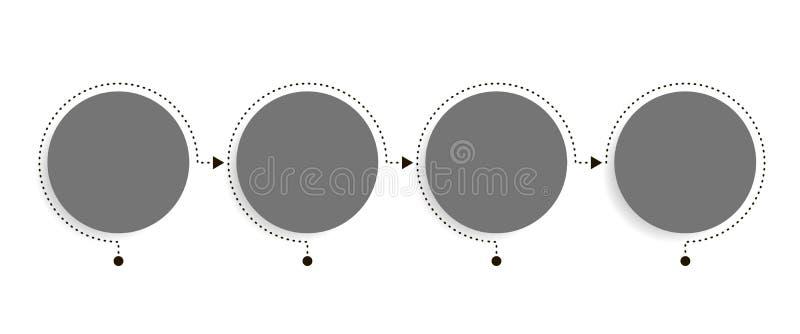 Modello di infographics di affari La cronologia con 4 punti della freccia del cerchio, quattro numera le opzioni Elemento di vett illustrazione vettoriale