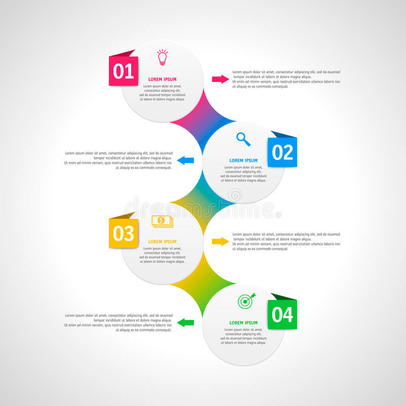 Modello di infographics di vettore con quattro opzioni nello stile materiale di progettazione Può essere usato come grafico, nume royalty illustrazione gratis
