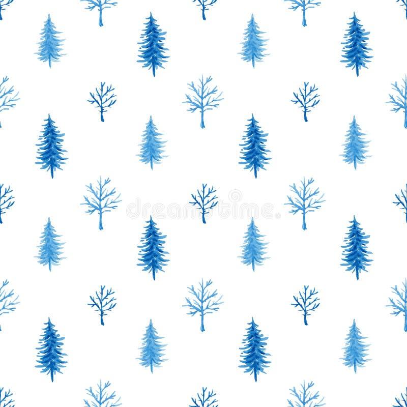 Modello di inverno dell'acquerello con l'albero royalty illustrazione gratis