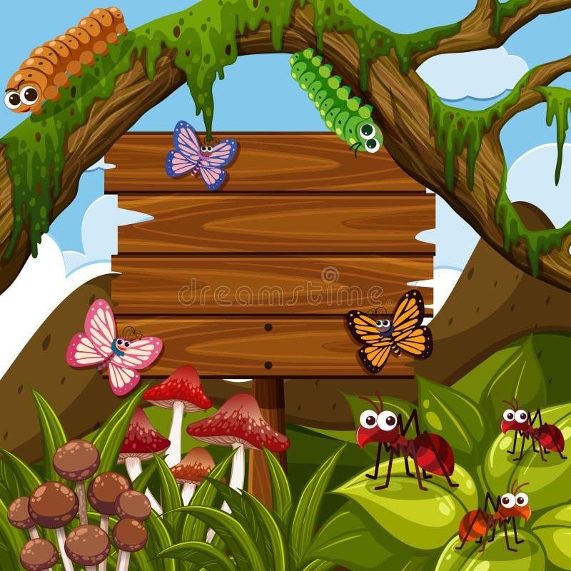 Modello di legno del segno con gli insetti nel legno illustrazione vettoriale