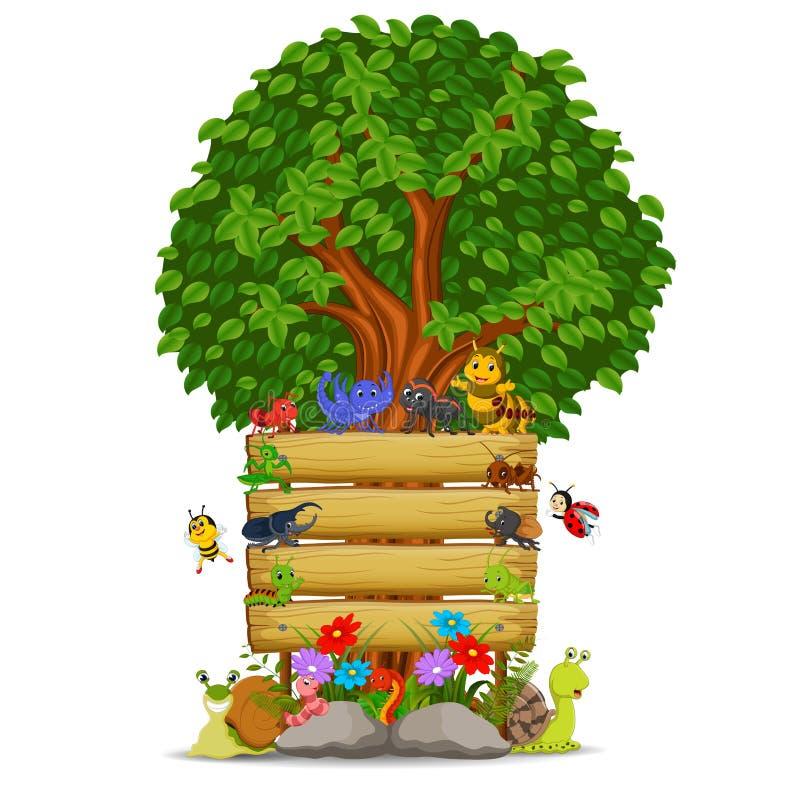 Modello di legno del segno con i molti insetto royalty illustrazione gratis