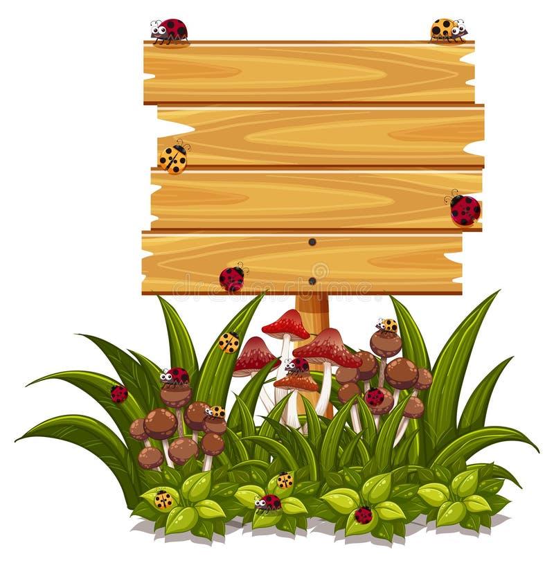 Modello di legno del segno con le coccinelle in giardino illustrazione di stock
