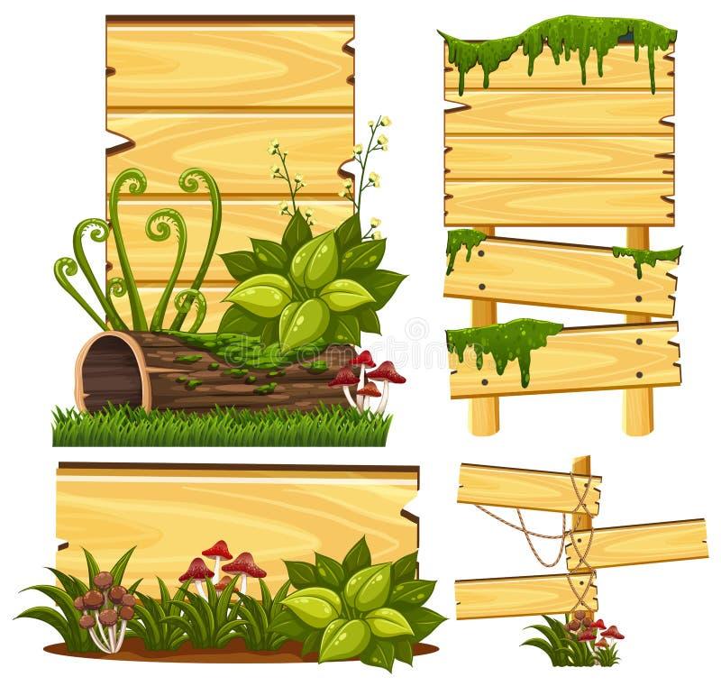Modello di legno del segno con muschio ed il fungo illustrazione vettoriale