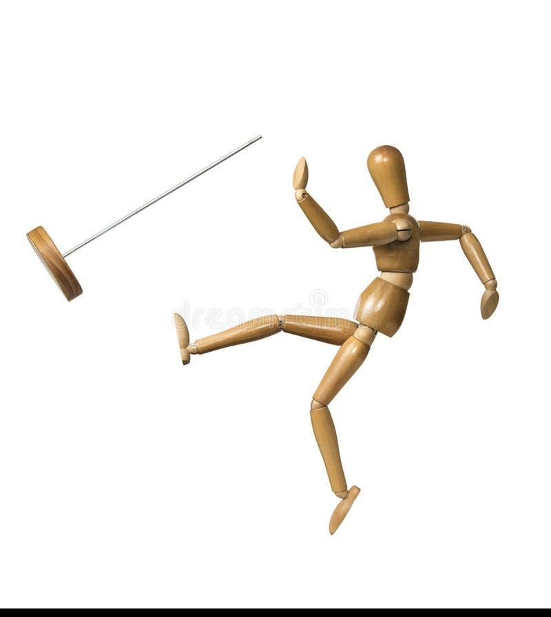 Modello di legno Kicking fuori dal supporto immagine stock