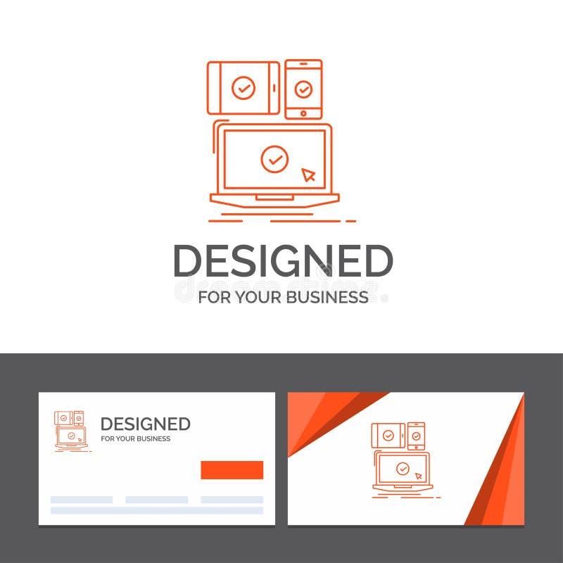 Modello di logo di affari per il computer, dispositivi, mobile, rispondenti, tecnologia Biglietti da visita arancio con il modell illustrazione di stock