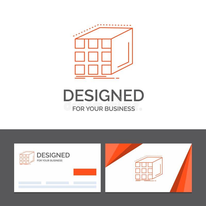 Modello di logo di affari per l'estratto, aggregazione, cubo, dimensionale, matrice Biglietti da visita arancio con il modello di illustrazione di stock