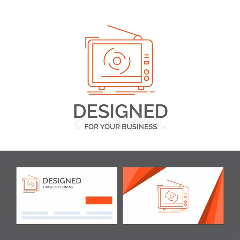 Modello di logo di affari per la TV, annuncio, pubblicità, televisione, insieme Biglietti da visita arancio con il modello di log illustrazione di stock