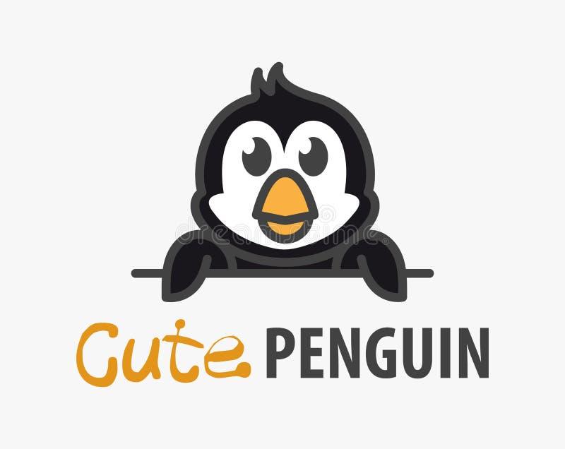 Modello di logo con il pinguino sveglio Modello di progettazione di logo di vettore per lo zoo, cliniche veterinarie, negozio di  illustrazione di stock