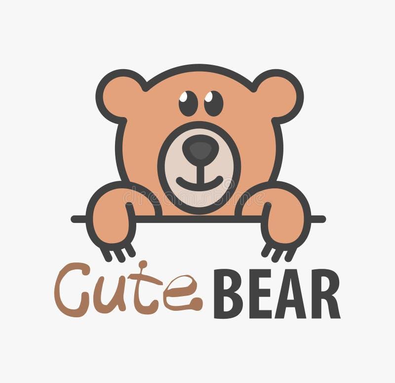 Modello di logo con l'orsacchiotto sveglio Modello di progettazione di logo di vettore per i negozi di animali, le cliniche veter illustrazione di stock