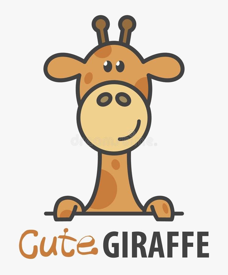 Modello di logo con la giraffa sveglia Modello di progettazione di logo di vettore per lo zoo, cliniche veterinarie Illustrazione illustrazione vettoriale