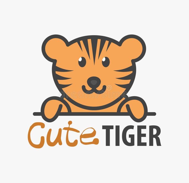 Modello di logo con la tigre sveglia Modello di progettazione di logo di vettore per lo zoo, cliniche veterinarie Illustrazione a illustrazione di stock