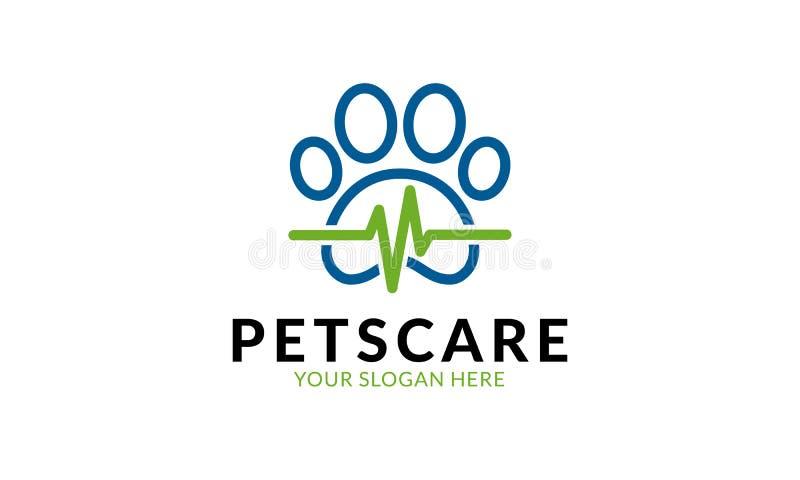 Modello di logo di cura di animali domestici illustrazione vettoriale