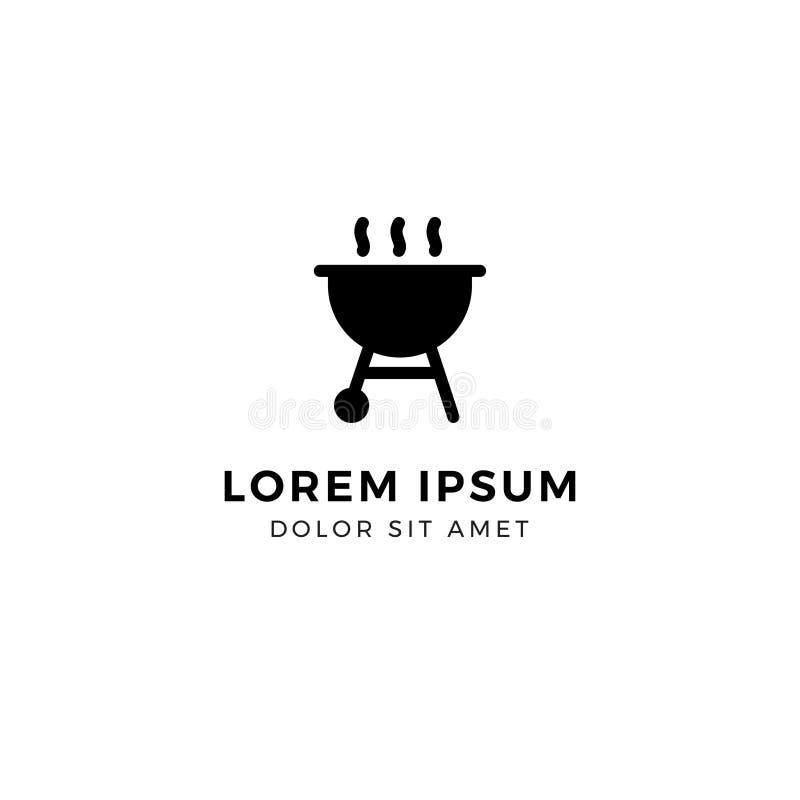 Modello di logo del barbecue, griglia arrostita fotografia stock libera da diritti
