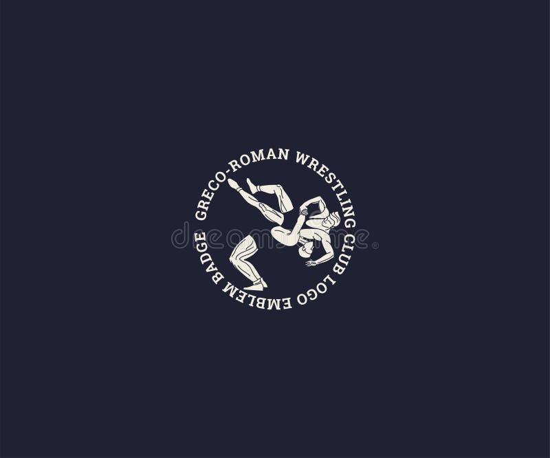 Modello di logo del club di lotta grecoromana, modello lottante di logo della siluetta di sport Illustrazione di vettore royalty illustrazione gratis