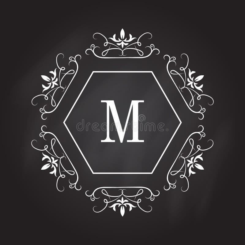 Modello di logo del monogramma Progettazione di identità per il negozio, il ristorante, il salone di bellezza, il boutique o l'ho illustrazione di stock