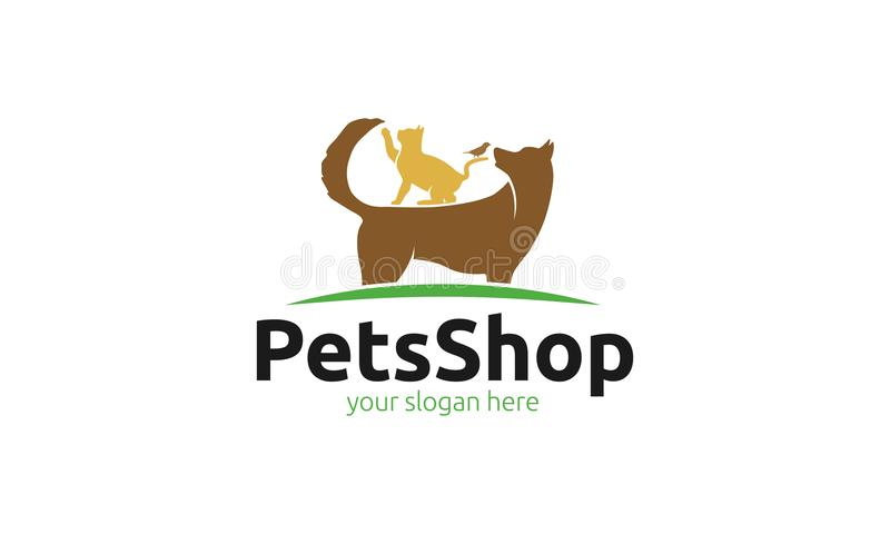 Modello di logo del negozio di animali illustrazione di stock