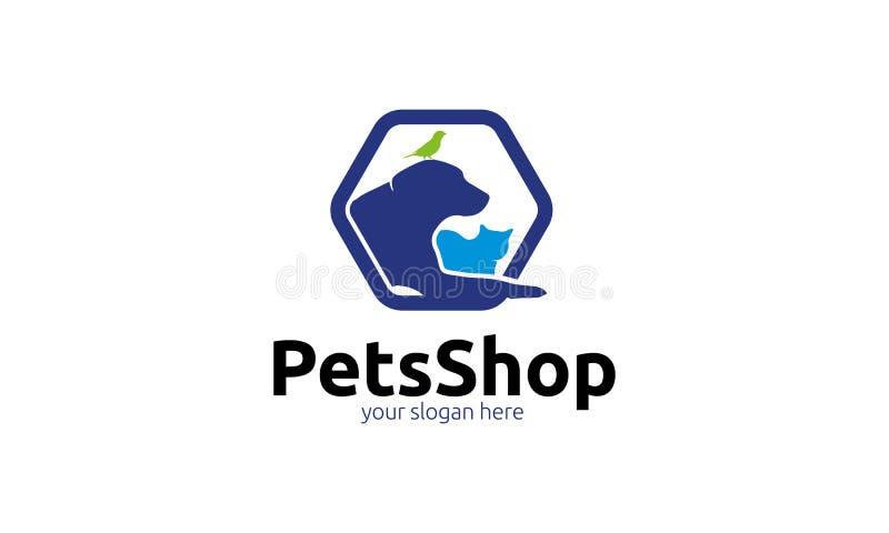 Modello di logo del negozio di animali illustrazione vettoriale