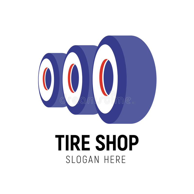 Modello di logo del negozio della gomma Automobile illustrazione di stock