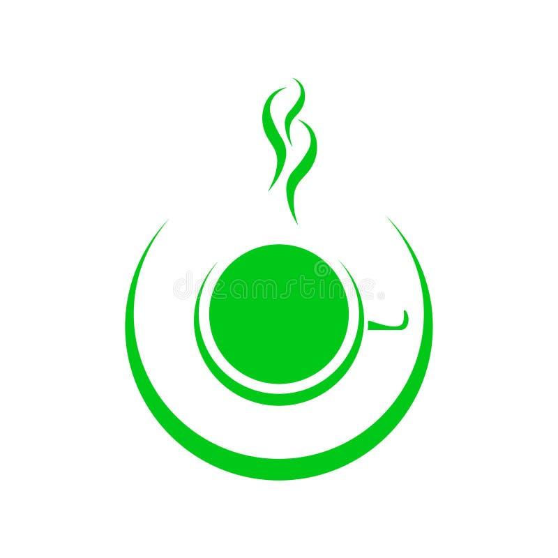 Modello di logo del negozio del tè o del caffè, caffè astratto naturale o tazza di tè con vapore, illustrazione vettoriale