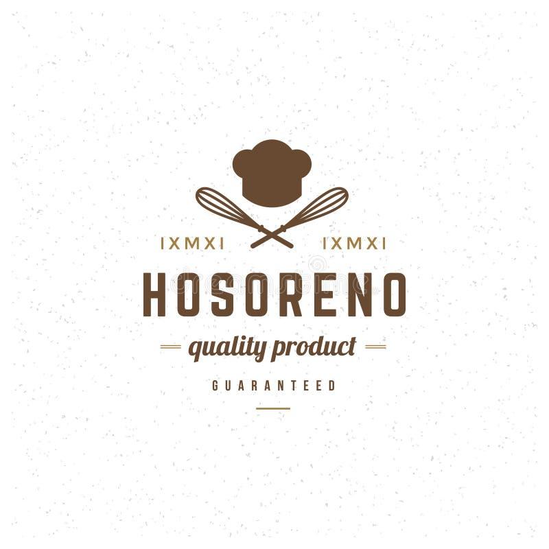 Modello di logo del ristorante Stile d'annata dell'elemento di progettazione di vettore per il Logotype illustrazione di stock